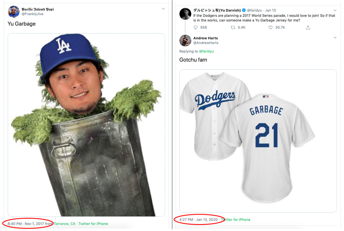 """When MLB confirmed the Houston Astros cheated in the 2017 World Series, Yu Darvish tweeted, """"So if that is in the works, can someone make a Yu Garbage Jersey for me?"""""""