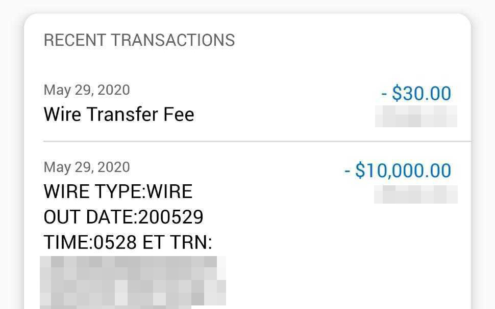 A wire payment for $10,000