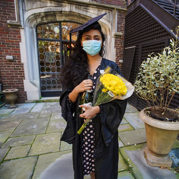 Varsha Thebo, 27, on the day of her graduation from Georgetown University, May 15, 2020.