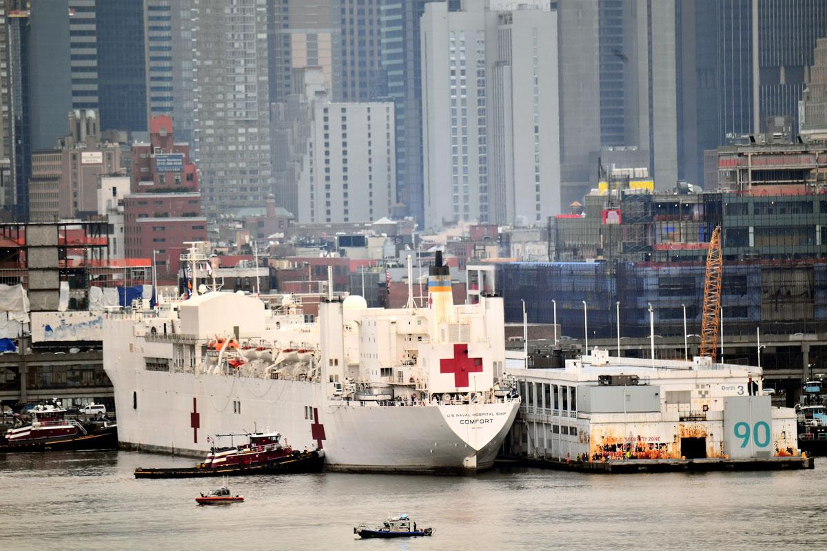 Navy Hospital Ship USNS Comfort docks at Pier 90 on the Hudson River on March 30.