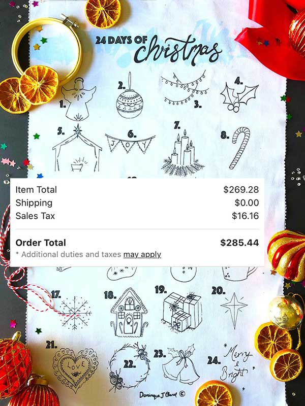 An embroidered advent calendar, plus the receipt for four of them, totaling $285.44