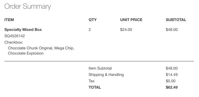 A receipt for $48 of cookies, plus $14.49 in shipping and handling.