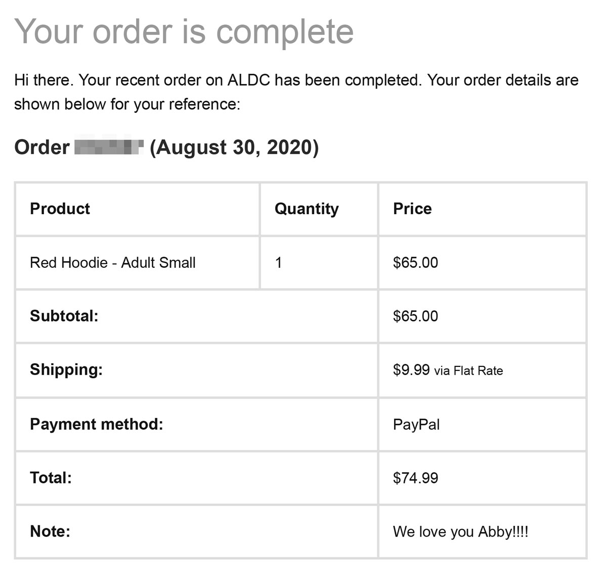 A receipt for a red hoodie, size small, $65 plus $9.99 shipping