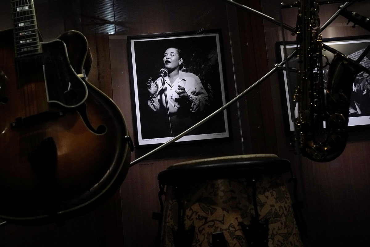 A portrait of jazz singer Billie Holiday on display in the Jazz Lobby at the Smithsonian National Museum of American History October 17, 2018.