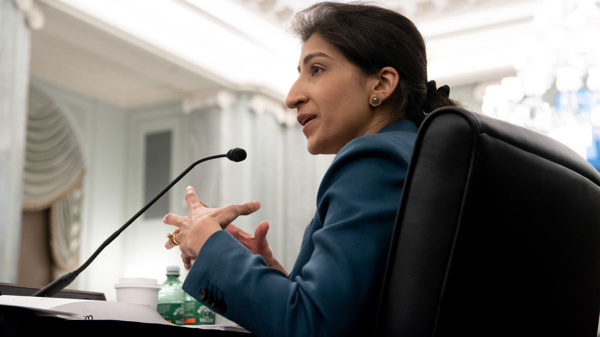 Lina Khan, Chairperson of the FTC, speaks at an April Senate Committee confirmation hearing.