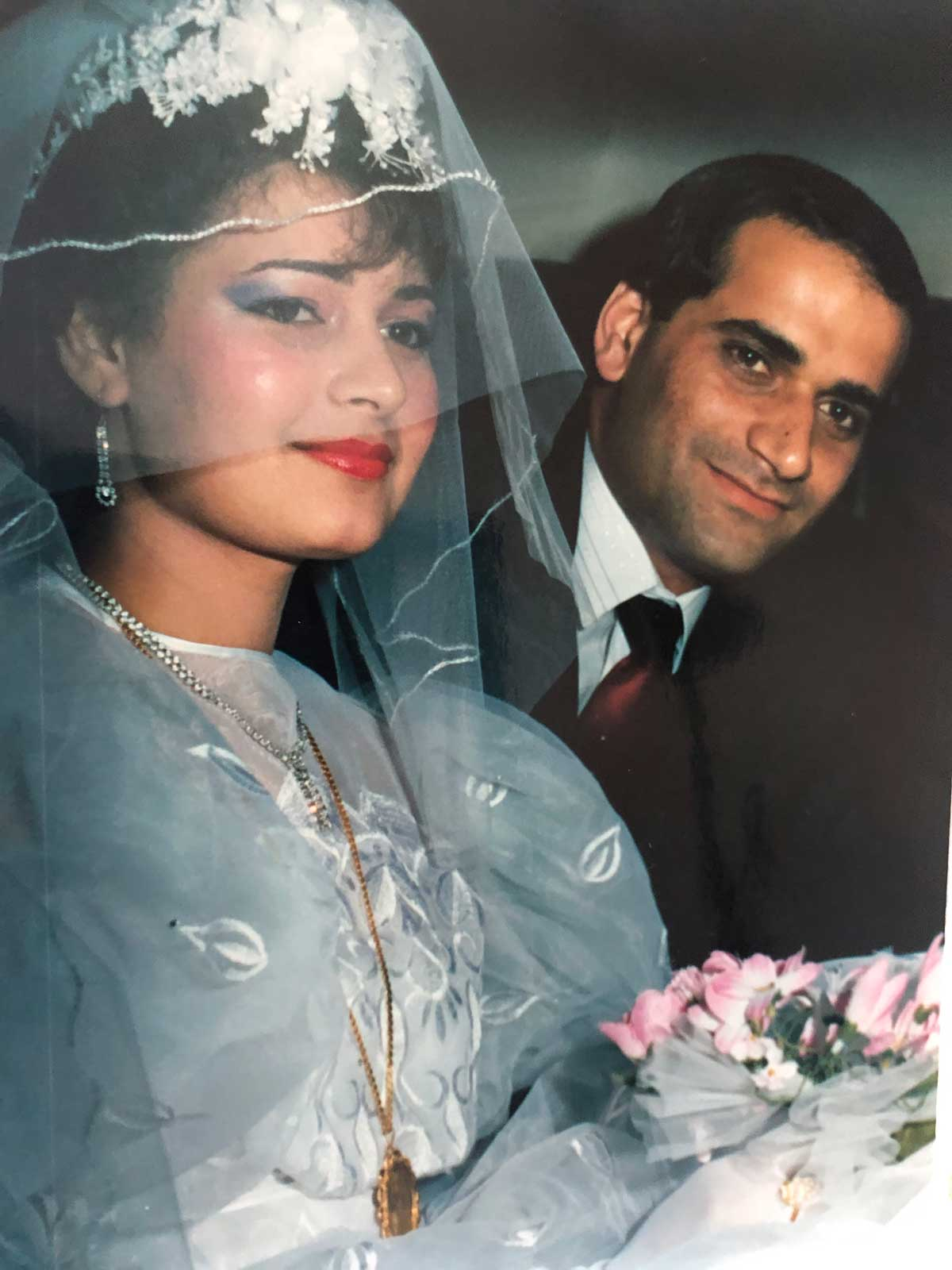 A photo of Reema's parents at their wedding.