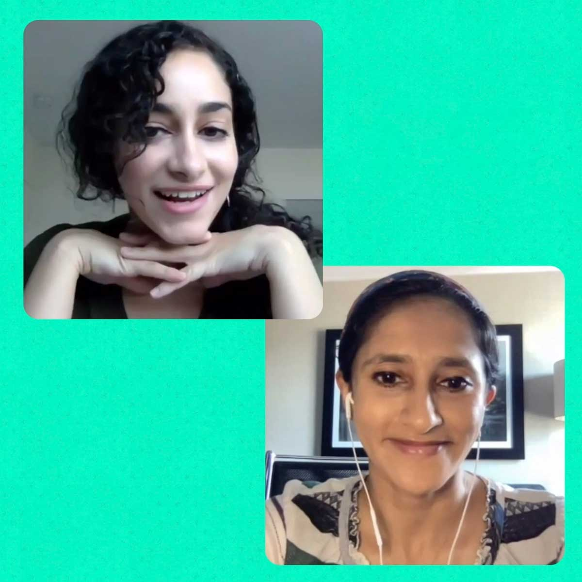 Reema and Aparna in a screenshot from our new video.