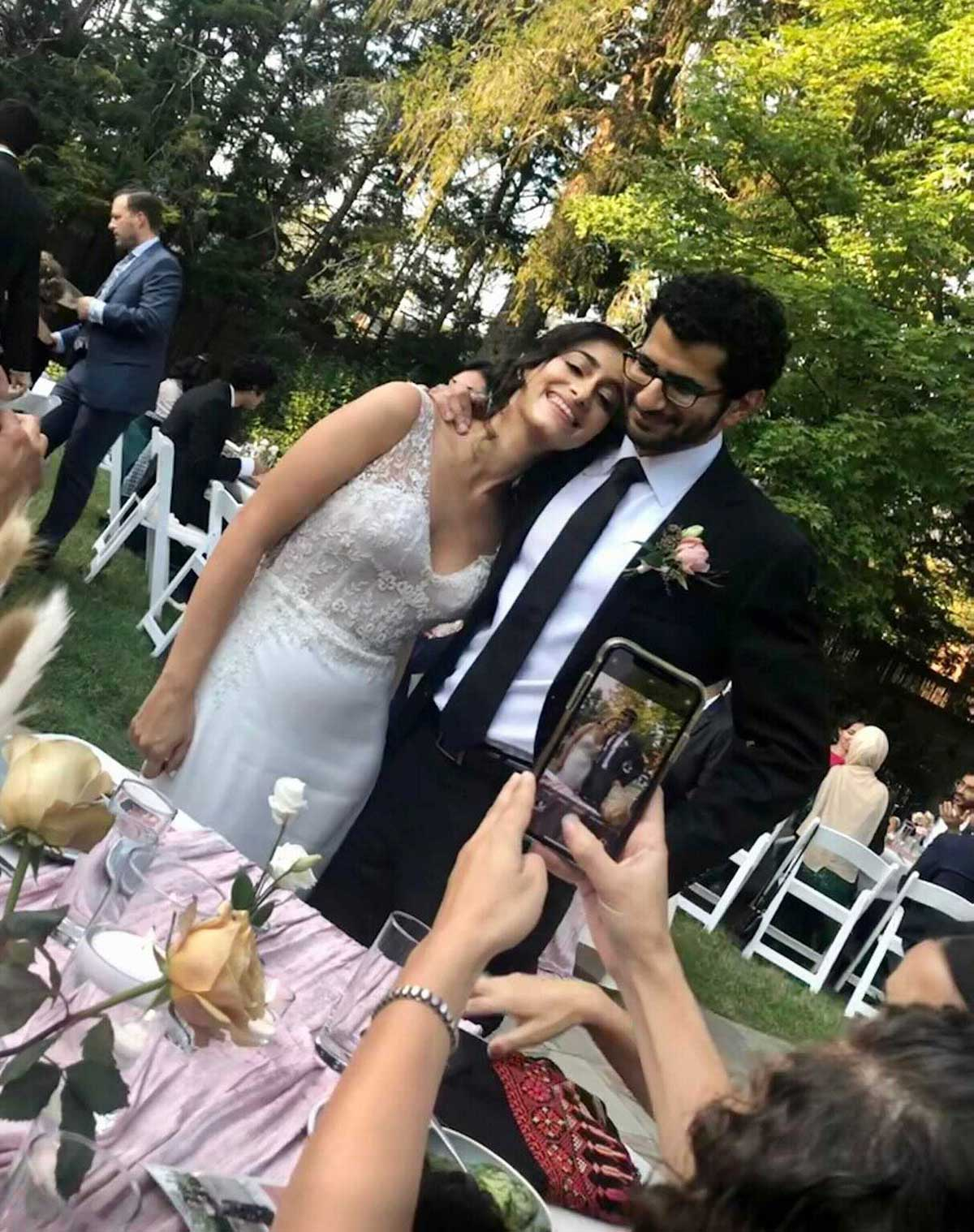 A candid photo of Reema and her new husband.